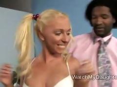 dark boy watches daughter naked
