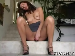 angel fondles her pussy