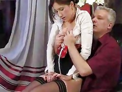 youthful angel drilled by old guy