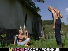 lustful gf cheats outdoors with her bfs daddy