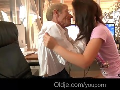 juvenile concupiscent maid bonks her old boss to