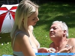 old dude enjoying massive melons and youthful muff