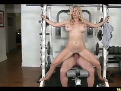 ingrid does trio squats on the hunters dick.