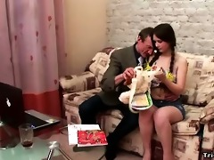 little angel with large mambos rides her old