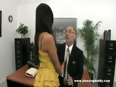 youthful slutty secretary copulates old boss