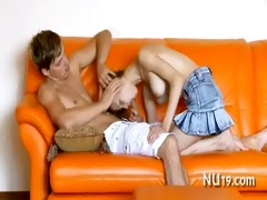neat chick gets nailed doggy position