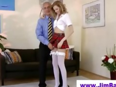 golden-haired masturbating previous to old guy