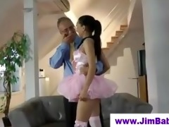 hot ballerina sucking off old chap