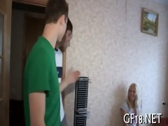 delicious legal age teenager angel stands doggy