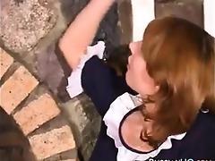 russian maid gives a footjob