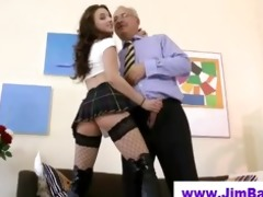 older lad bonks younger fishnet playgirl