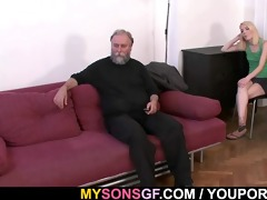 old daddy forces his sons gf engulf his schlong