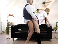 blond schoolgirl enchanting his old nob