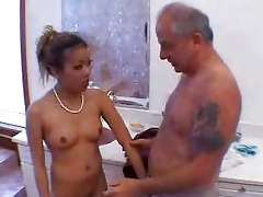grandpapa blown by sexy oriental beauty in shower