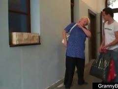 giant titted grandma pleases a stranger